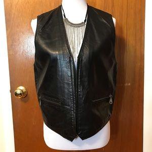 Express Black Leather Vest